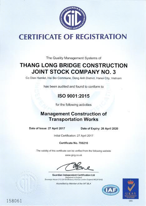 CHỨNG NHẬN ISO 9001:2015 CỦA CÔNG TY CP CẦU 3 THĂNG LONG